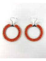 Beaded Earrings Hoops Silver Lined Orange and Opaque Orange
