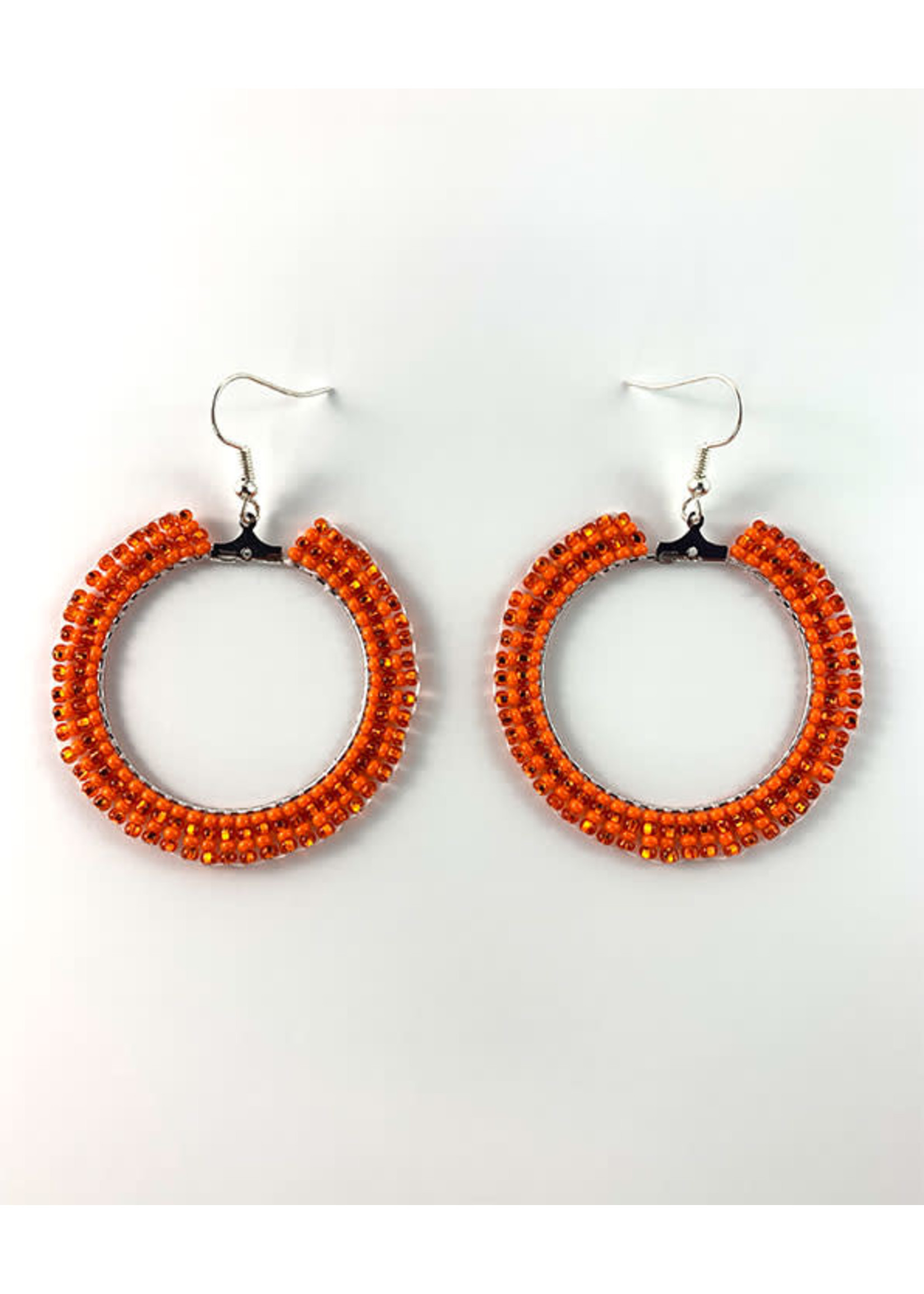 Beaded Earrings Hoops Silver Lined Orange and Opaque Orange (SOLD)