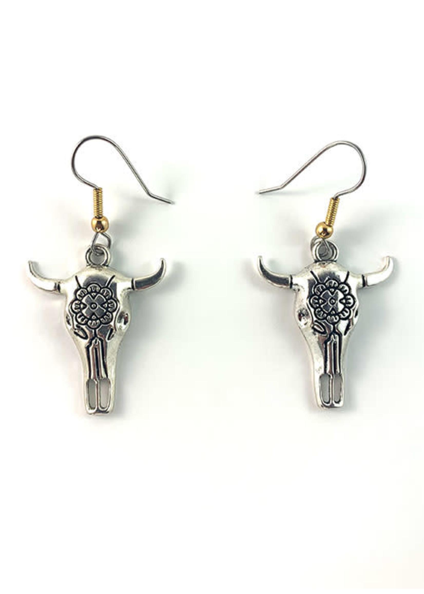 Buffalo Skull Earrings