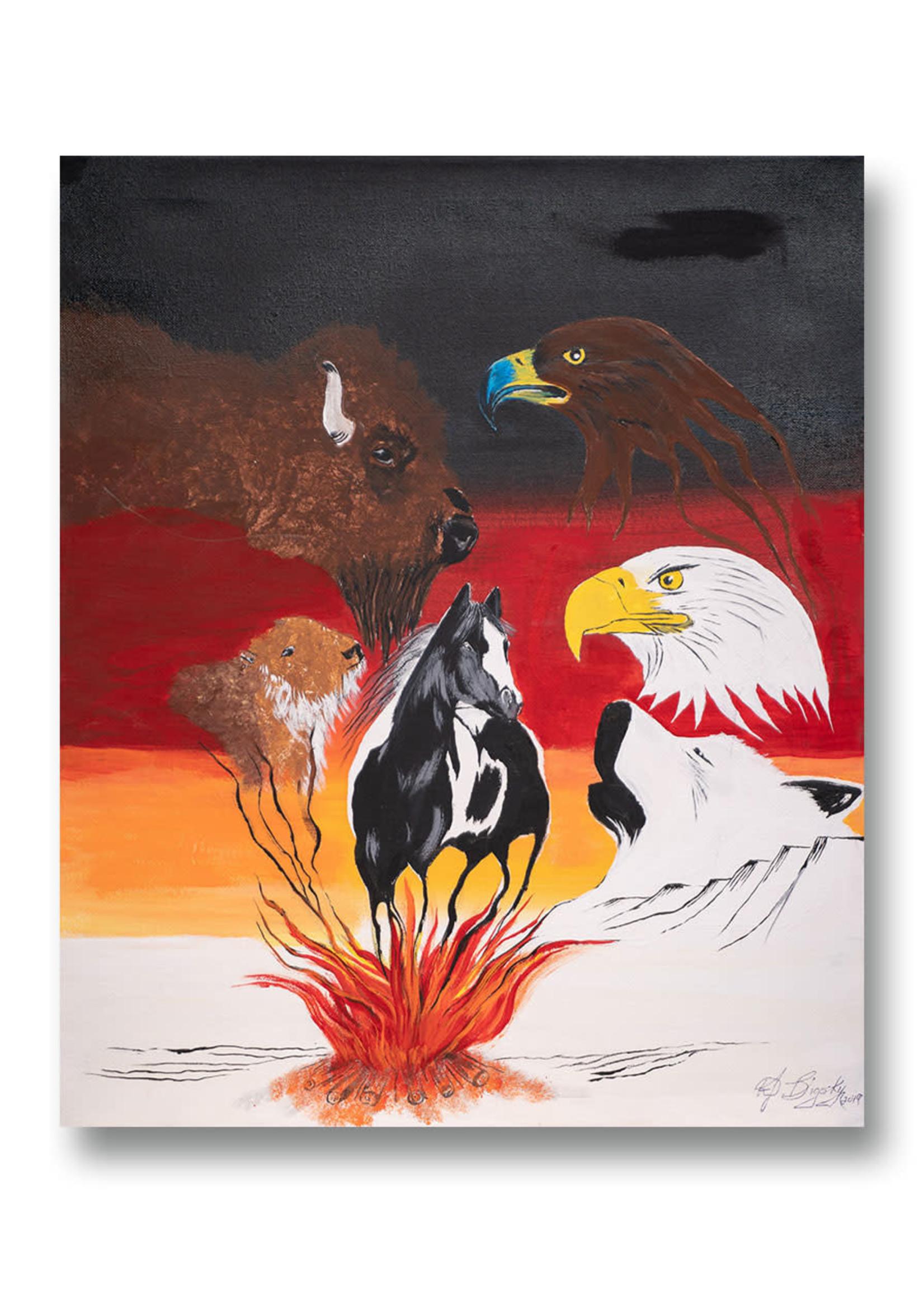Spirit Animals In Sacred Fire (SOLD)