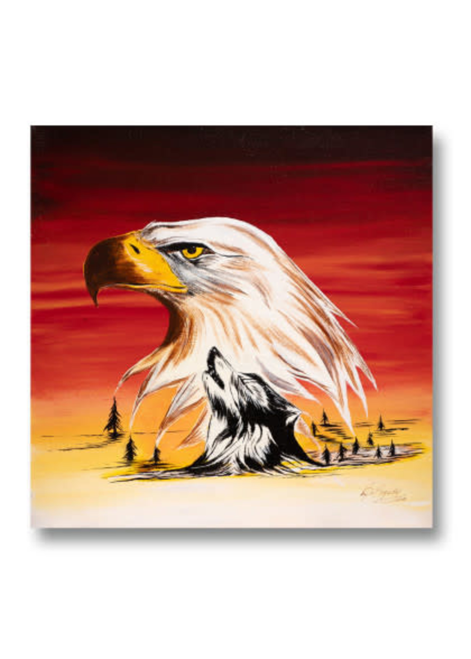 Eagle with Wolf Silhouette (SOLD)