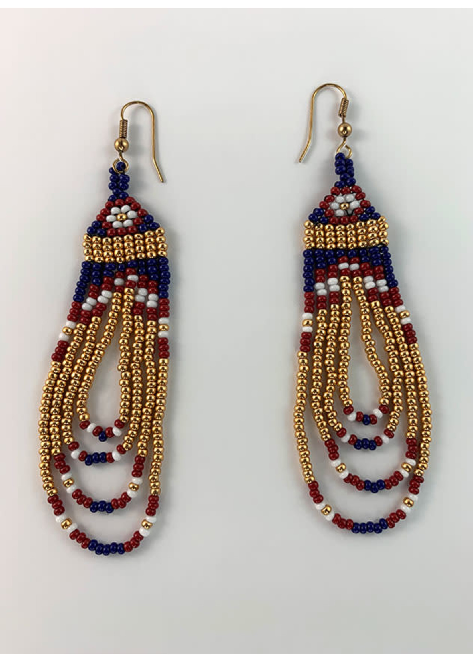 Circle of Eagles Beaded Earrings - Gold, Red, White, Blue (SOLD)