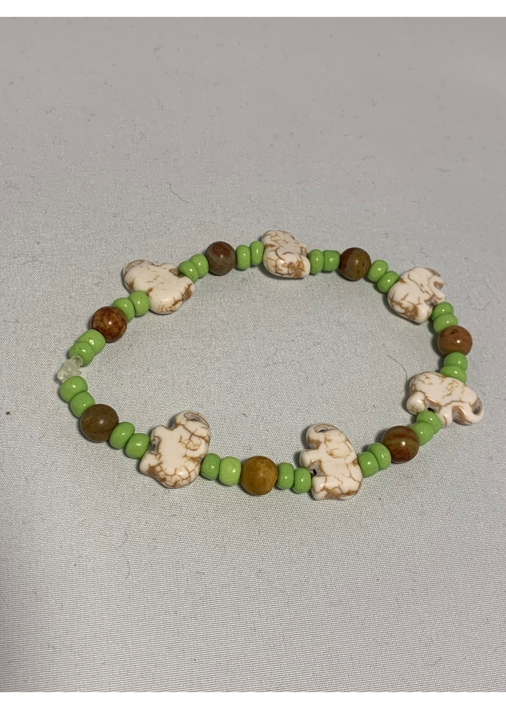 Stretch Bracelet Elephant with Green and Brown Beads