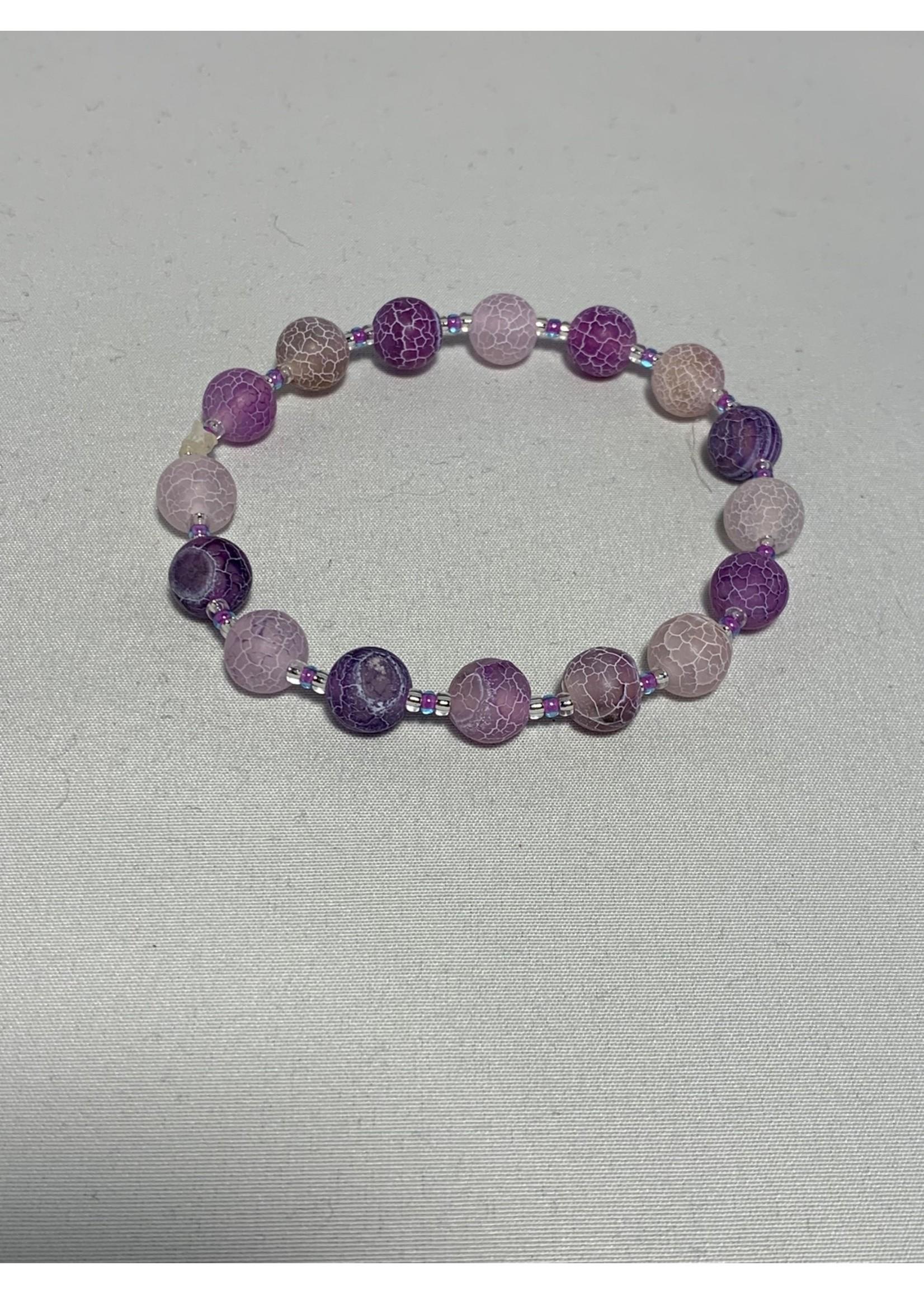 Stretch Bracelet Purple Agate Beads