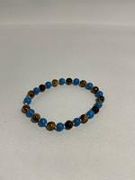 Stretch Bracelet Tigers Eye & Blue Sea Bamboo Coral