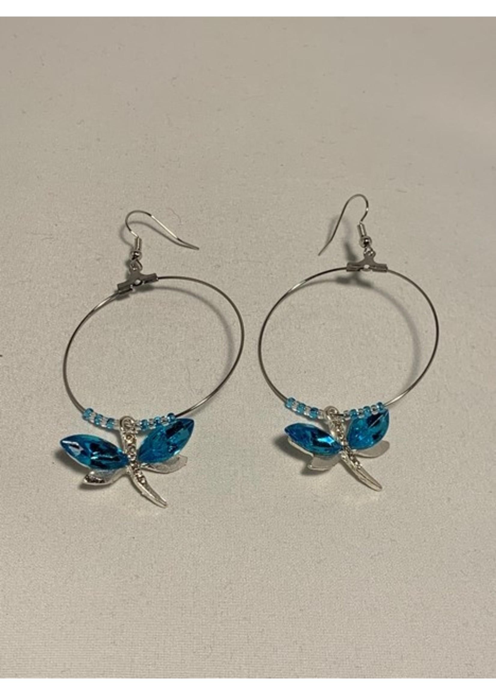 Large Hoop Earrings Light Blue Dragonfly