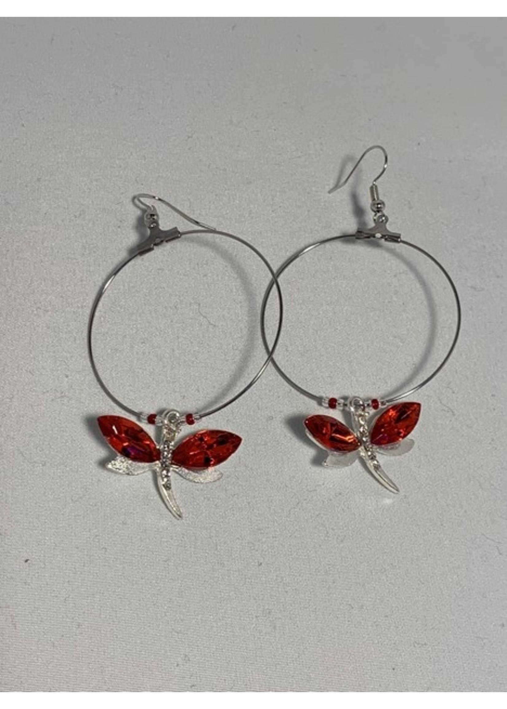Large Hoop Earrings Red Dragonfly