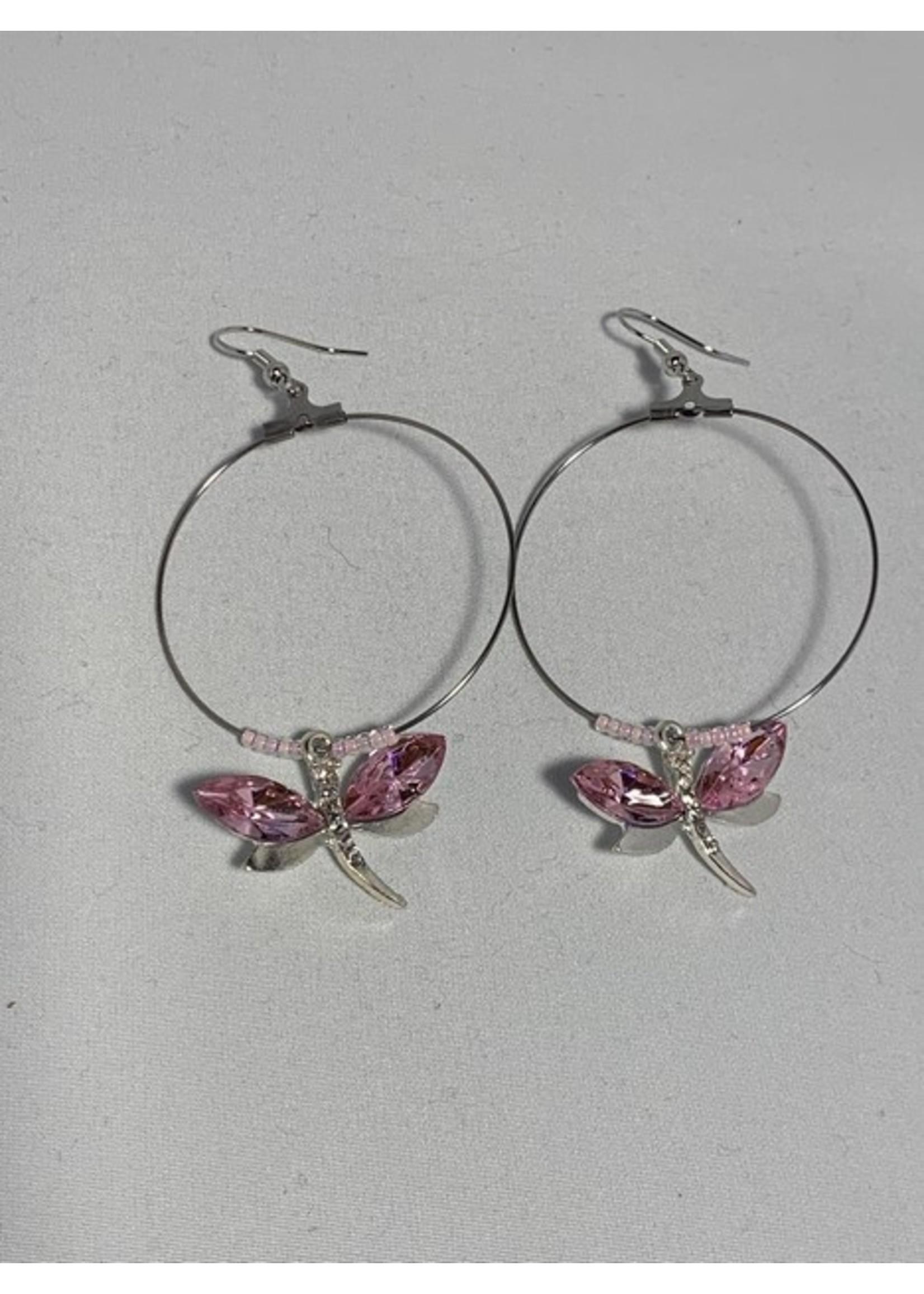 Large Hoop Earrings Light Pink Dragonfly