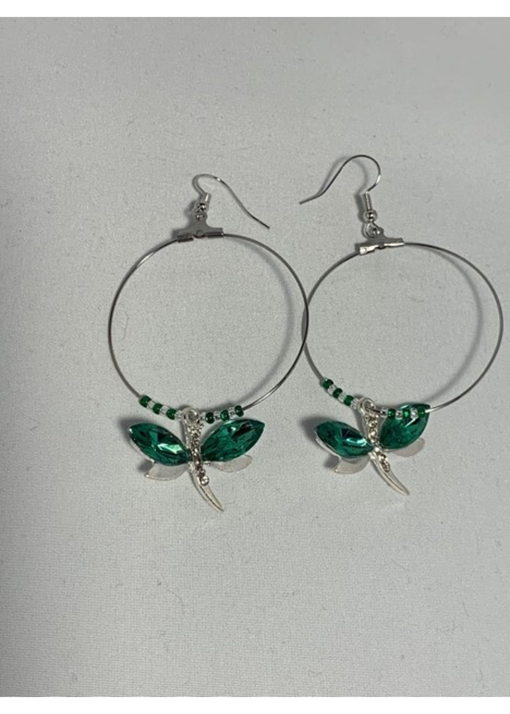 Large Hoop Earrings Green Dragonfly