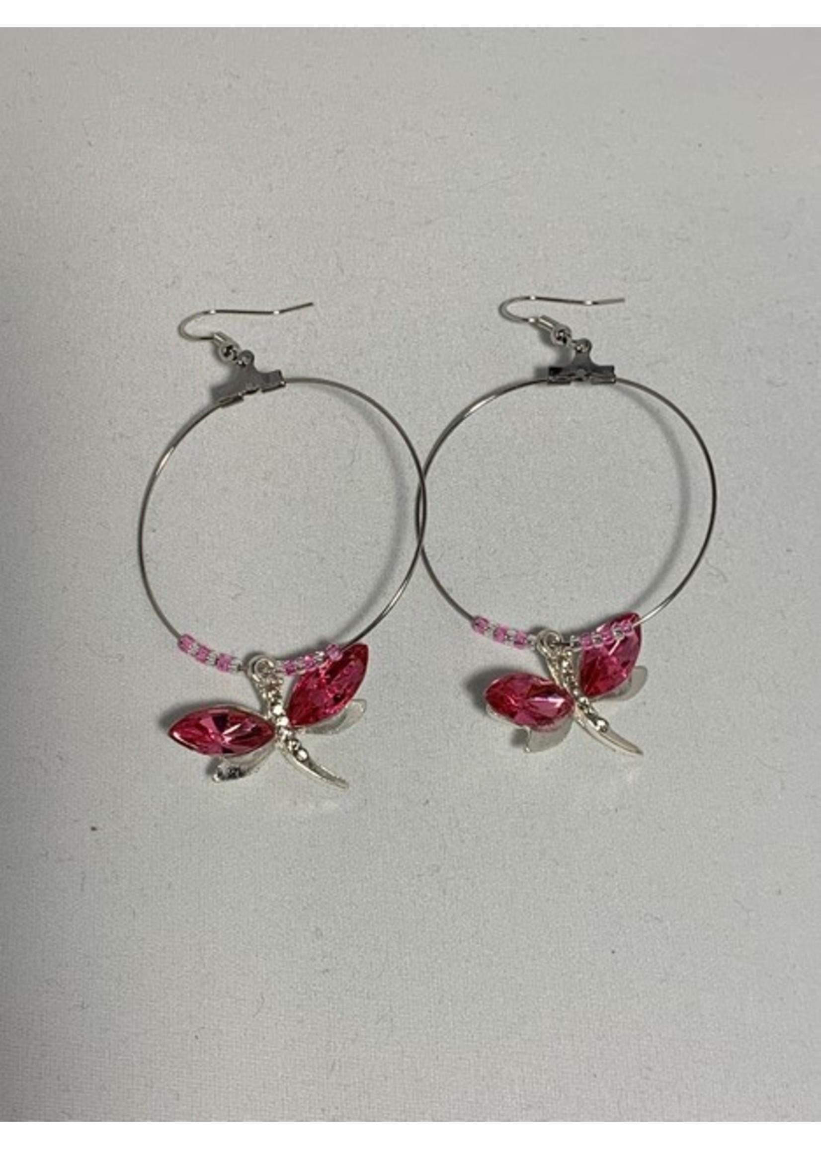 Large Hoop Earrings Dark Pink Dragonfly