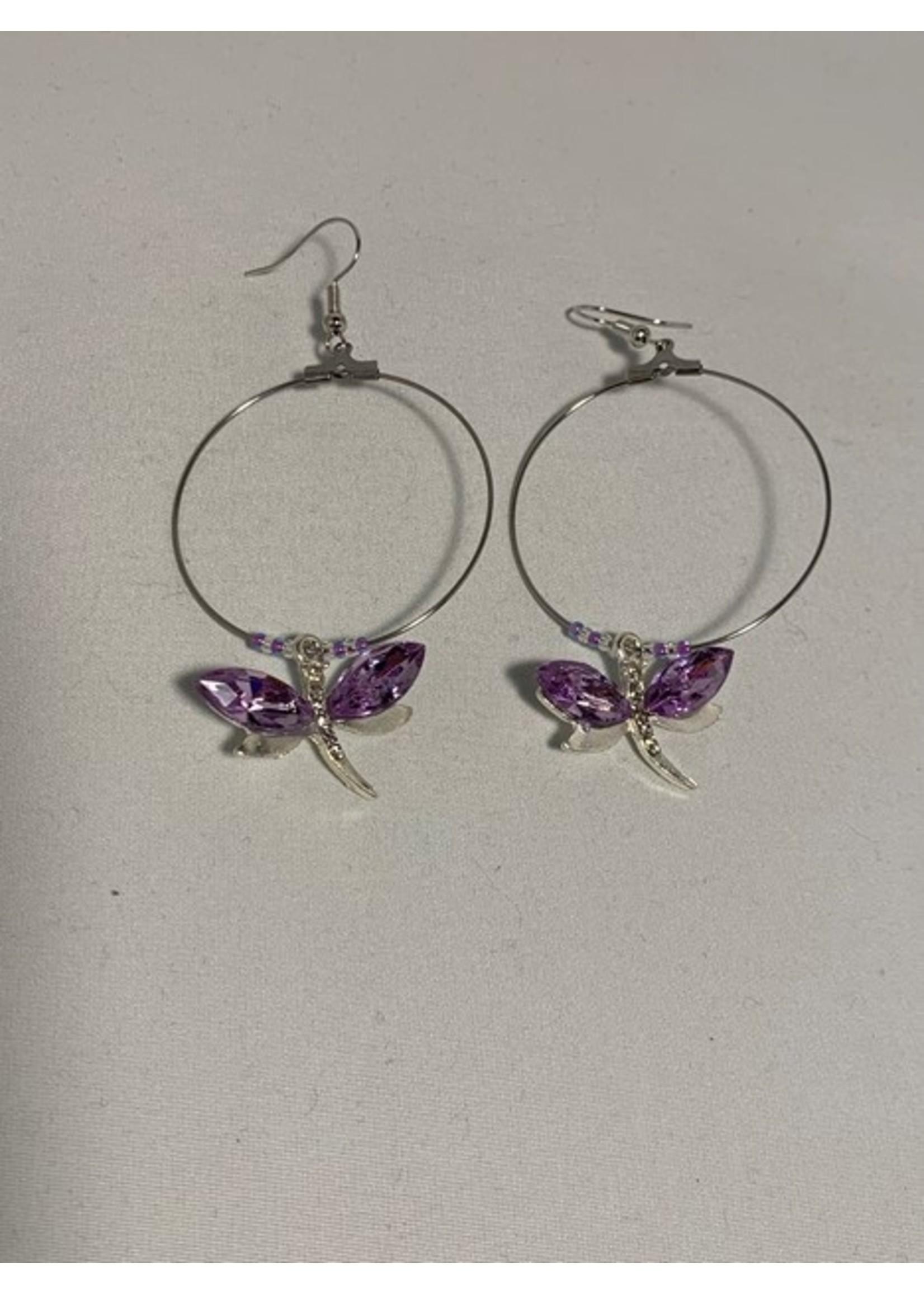 Large Hoop Earrings Light Purple Dragonfly