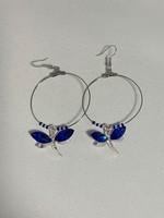 Large Hoop Earrings Royal Blue Dragonfly