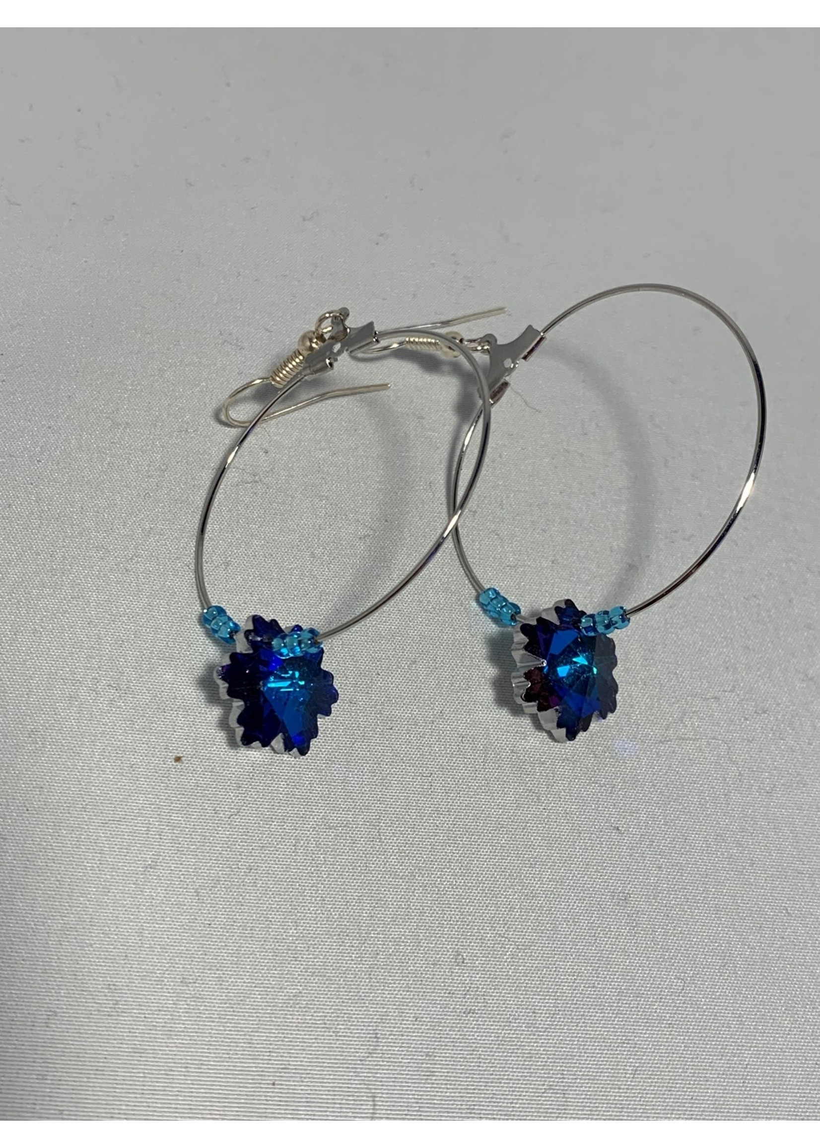 Silver Hoops with Blue & Purple Crystal Snowflake, Silver Lined Blue Beads