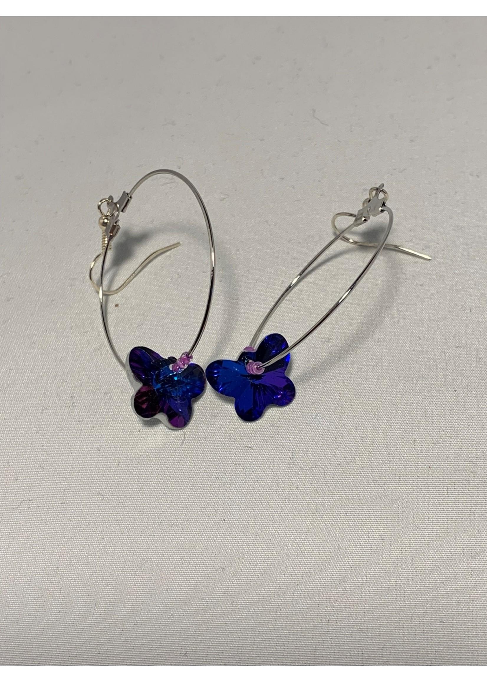 Silver Hoops with Blue & Purple Crystal Butterflies, Purple Beads