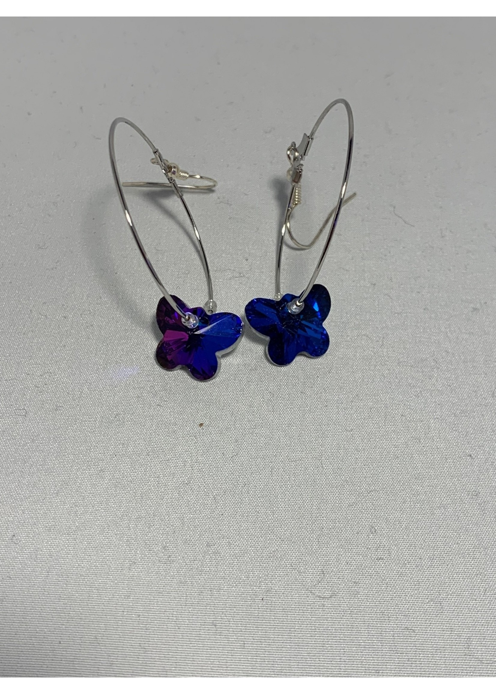 Silver Hoops with Blue & Purple Crystal Butterflies, Silver Lined Crystal Beads