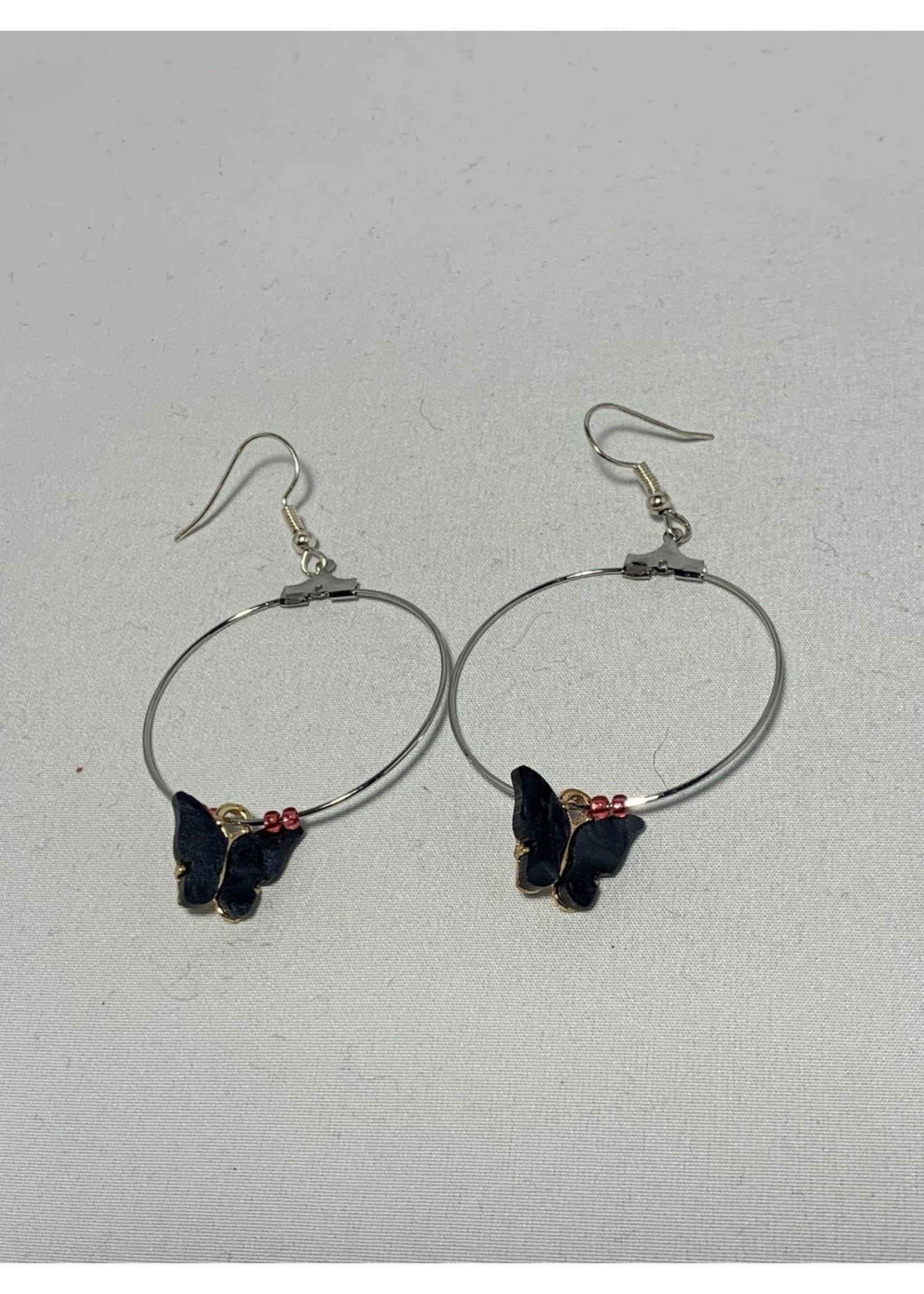 Silver Hoops with Dark Grey Butterflies