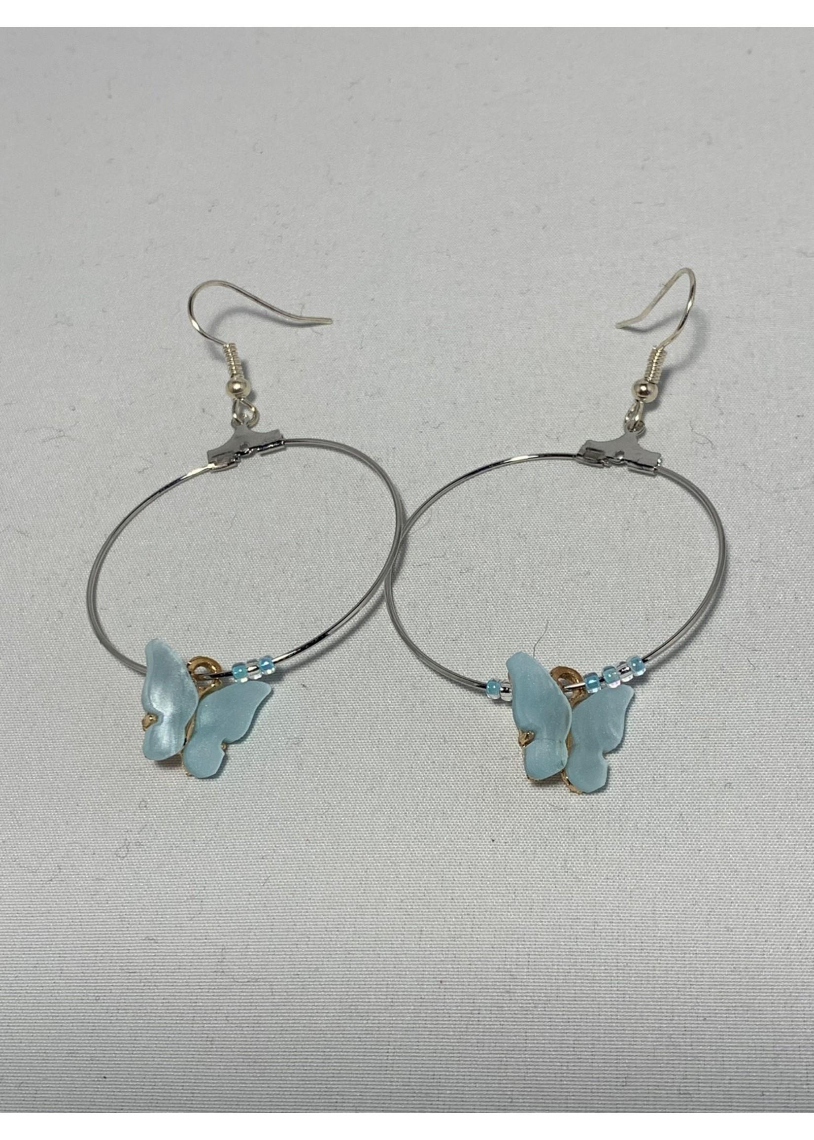 Silver Hoops with Light Blue Butterflies