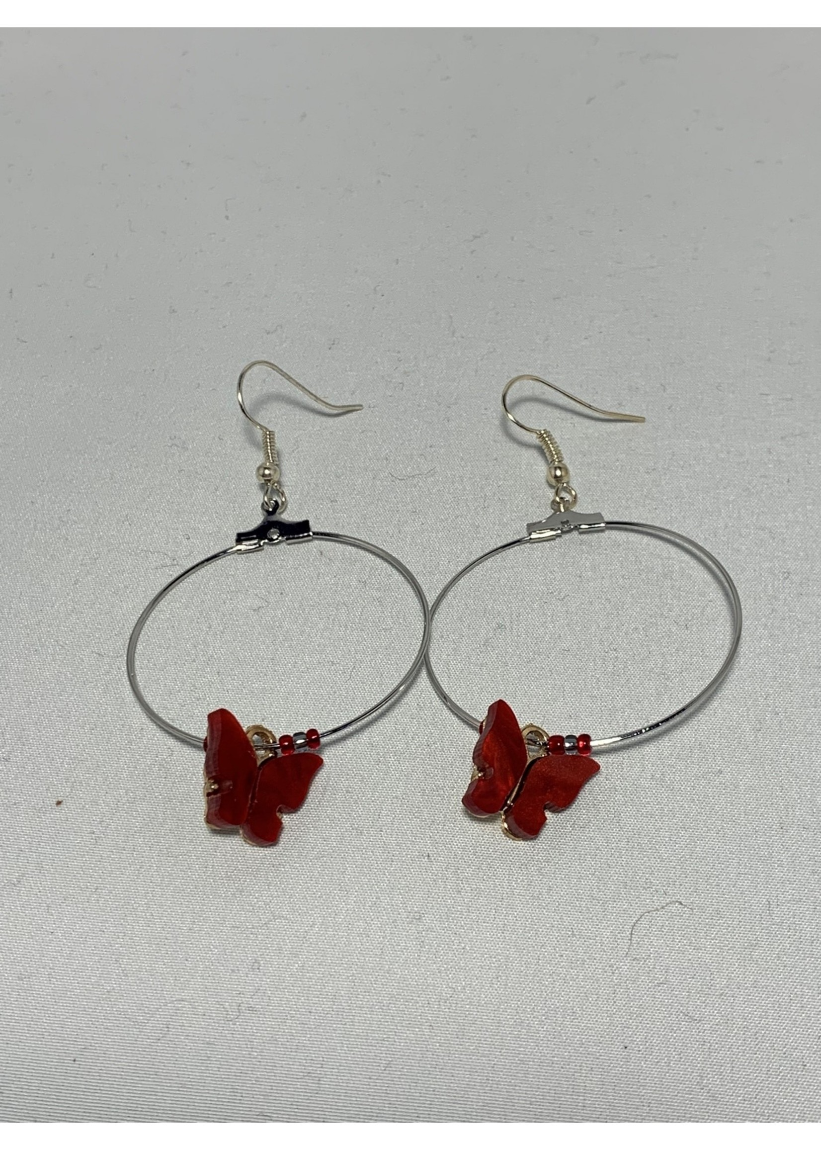 Silver Hoops with Red Butterflies