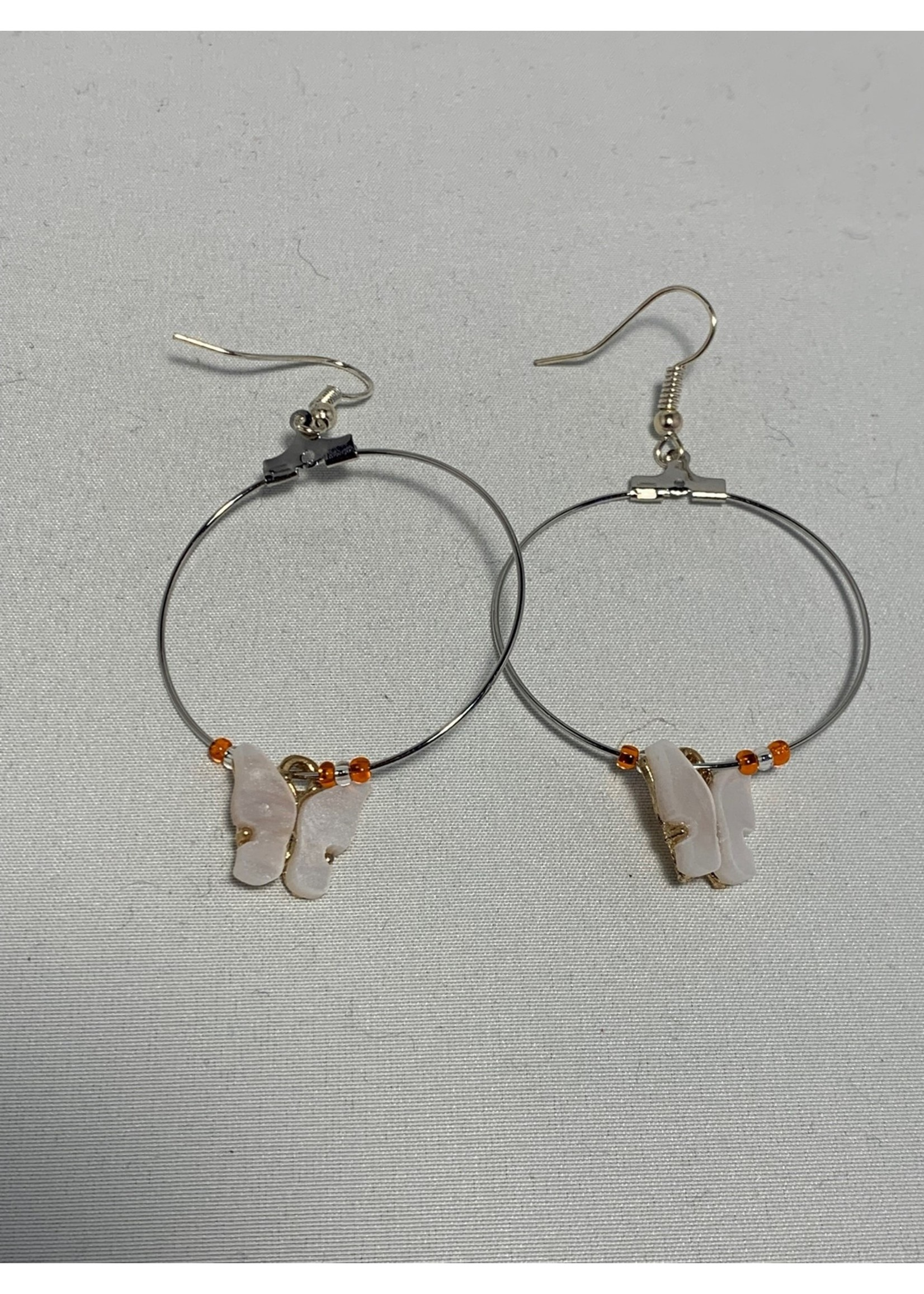 Silver Hoops with White Butterflies