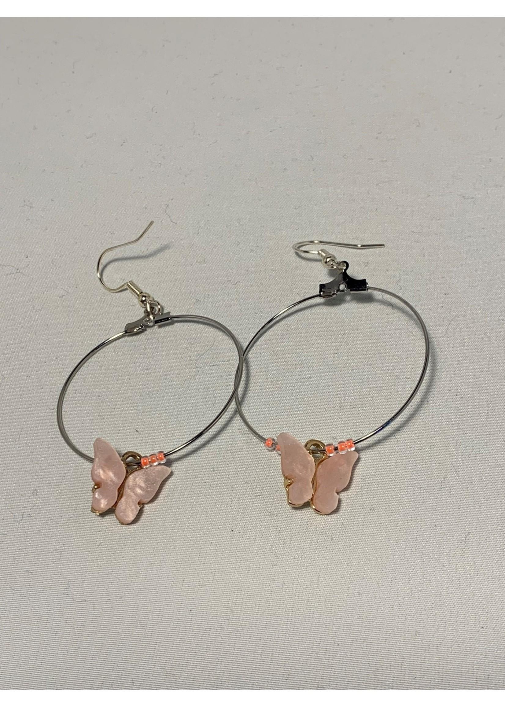 Silver Hoops with Light Pink Butterflies