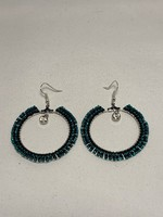 Beaded Earrings Hoops Silver Lined Turquoise and Opaque Black with Jewel (SOLD)