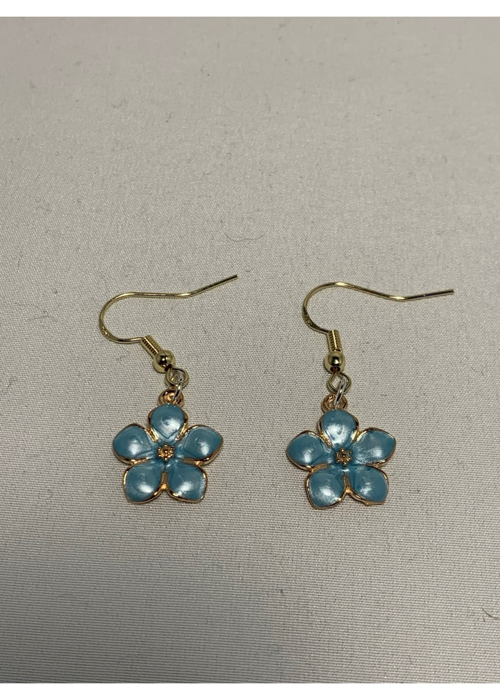 Earrings Pearl Blue Flowers