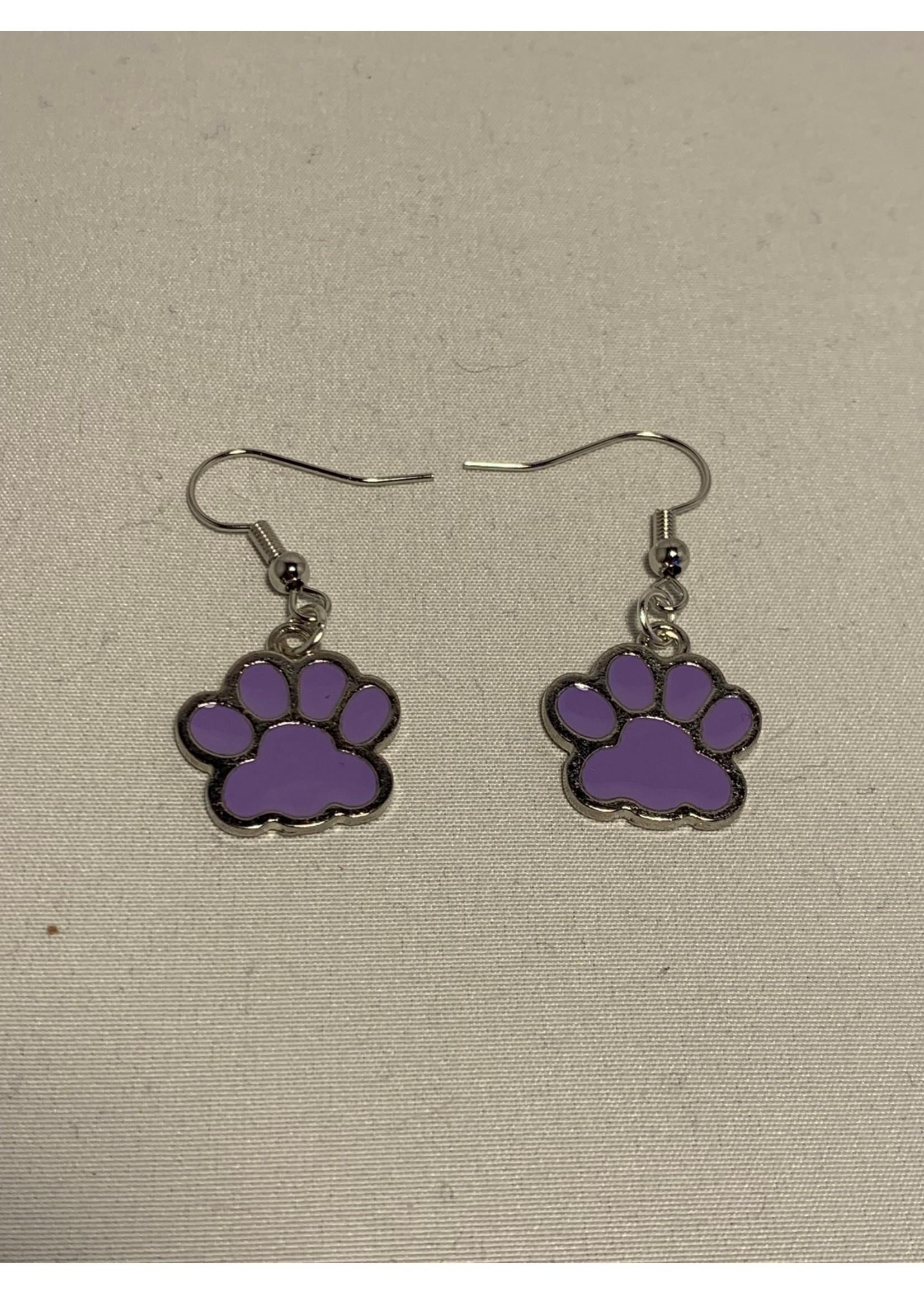 Earrings Purple Paw Prints