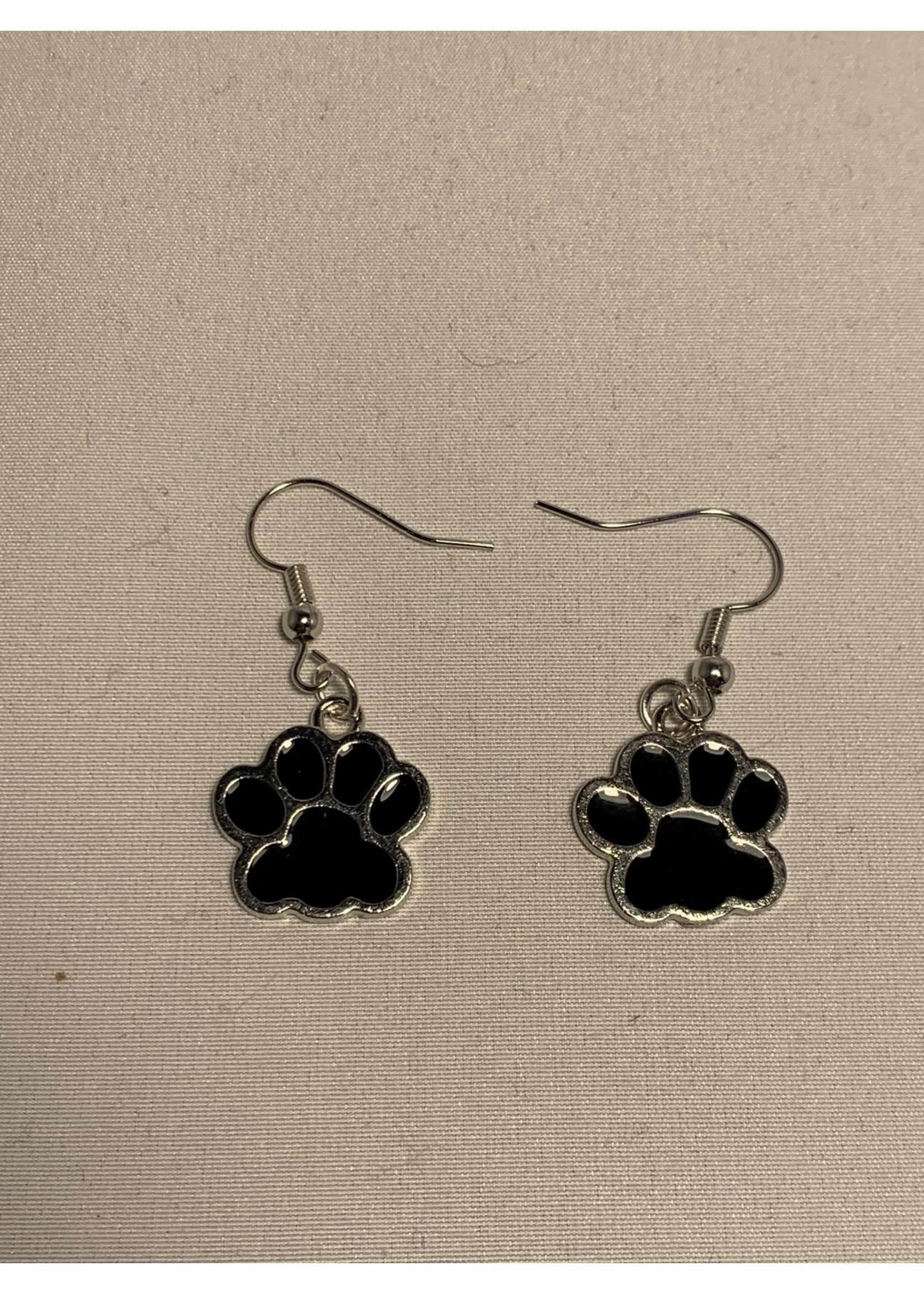 Earrings Black Paw Prints