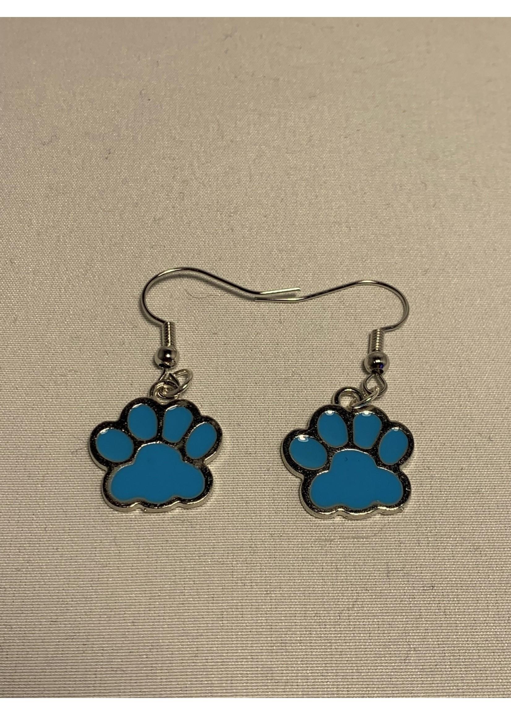Earrings Blue Paw Prints