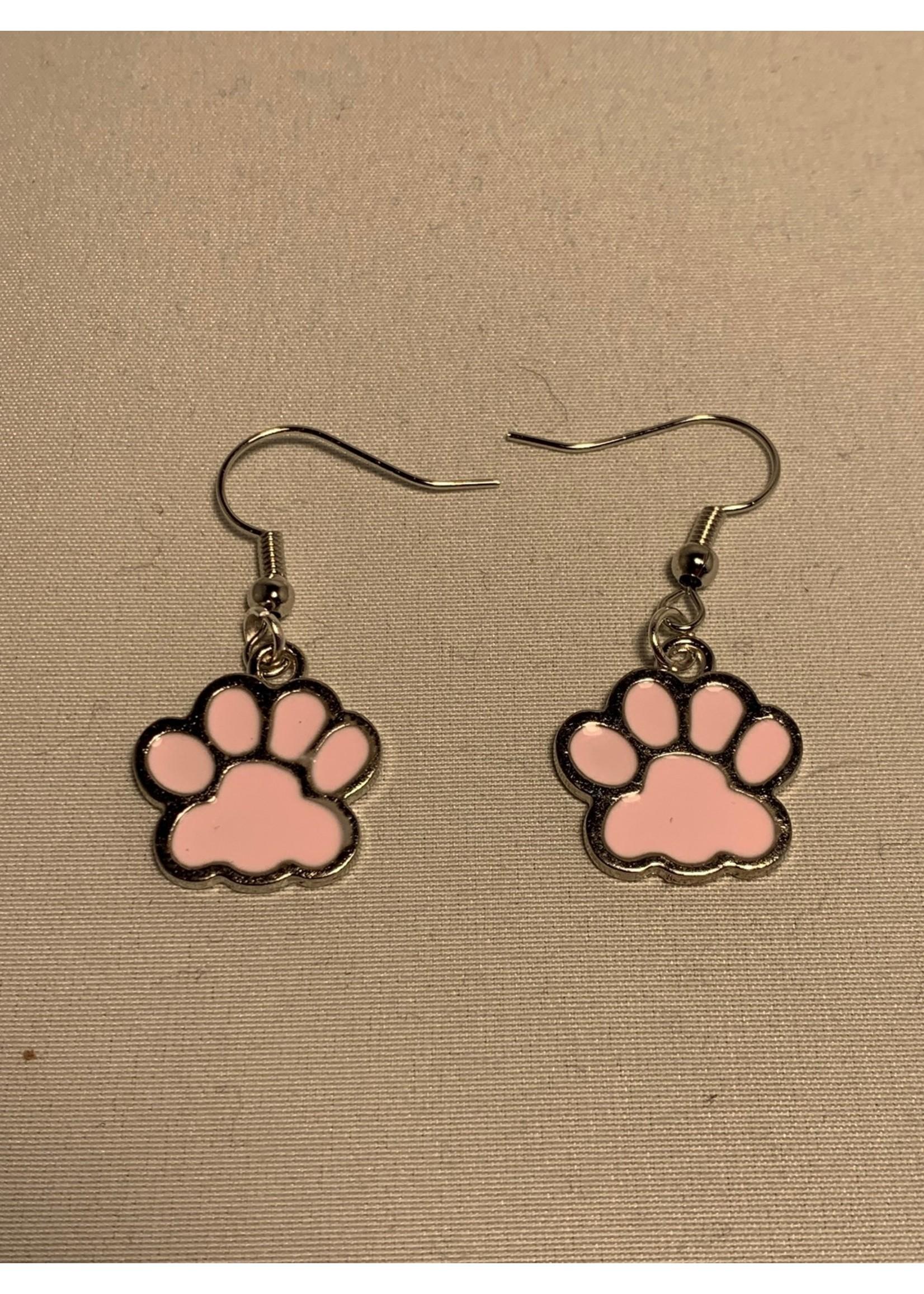 Earrings Pink Paw Prints