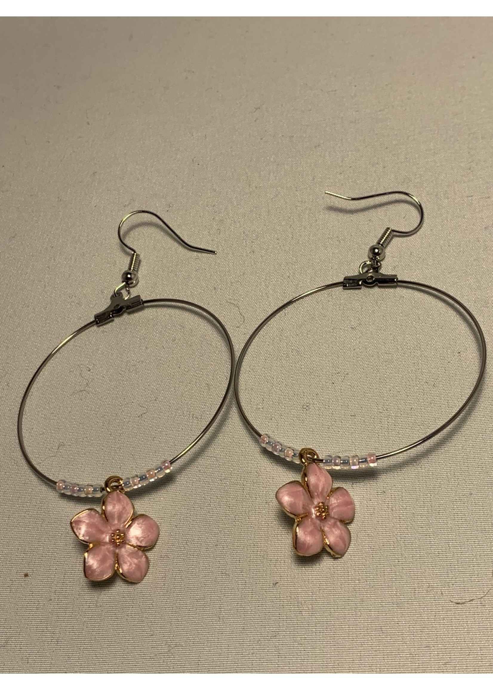 Large Hoop Earrings Pearl Pink Flowers with Pearl Pink and Gold Lined Pearl Beads