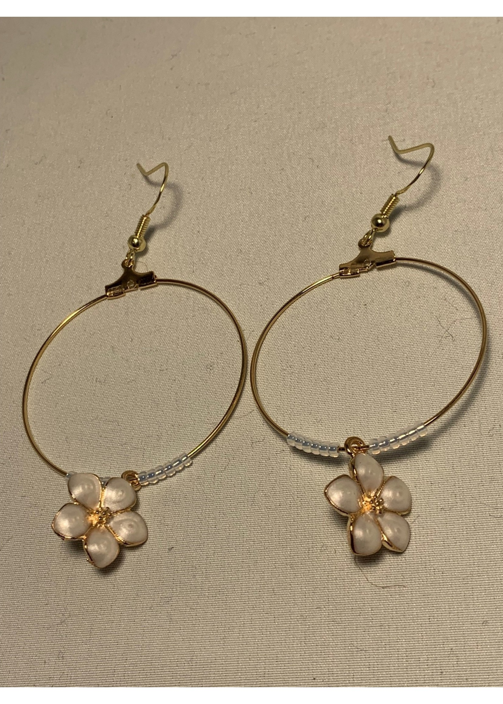 Large Hoop Earrings Pearl White Flowers on Gold Hoop with Gold Lined Pearl Beads