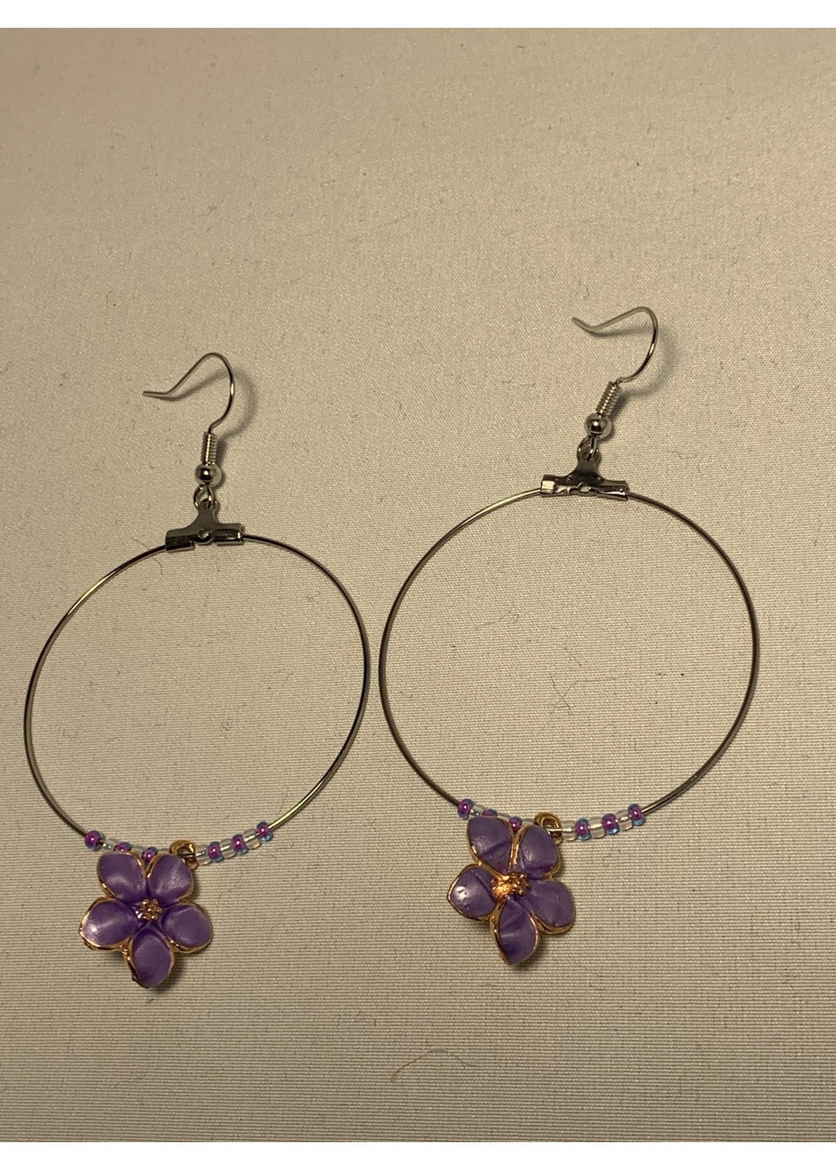 Large Hoop Earrings Pearl Purple Flowers with Purple and Gold Lined Pearl Beads