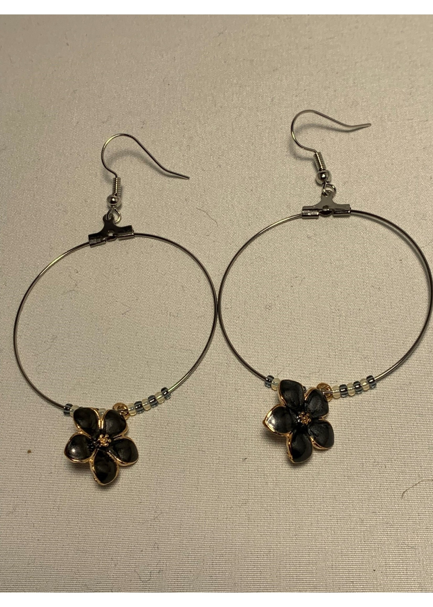 Large Hoop Earrings Pearl Grey Flowers with Grey and Gold Lined Pearl Beads