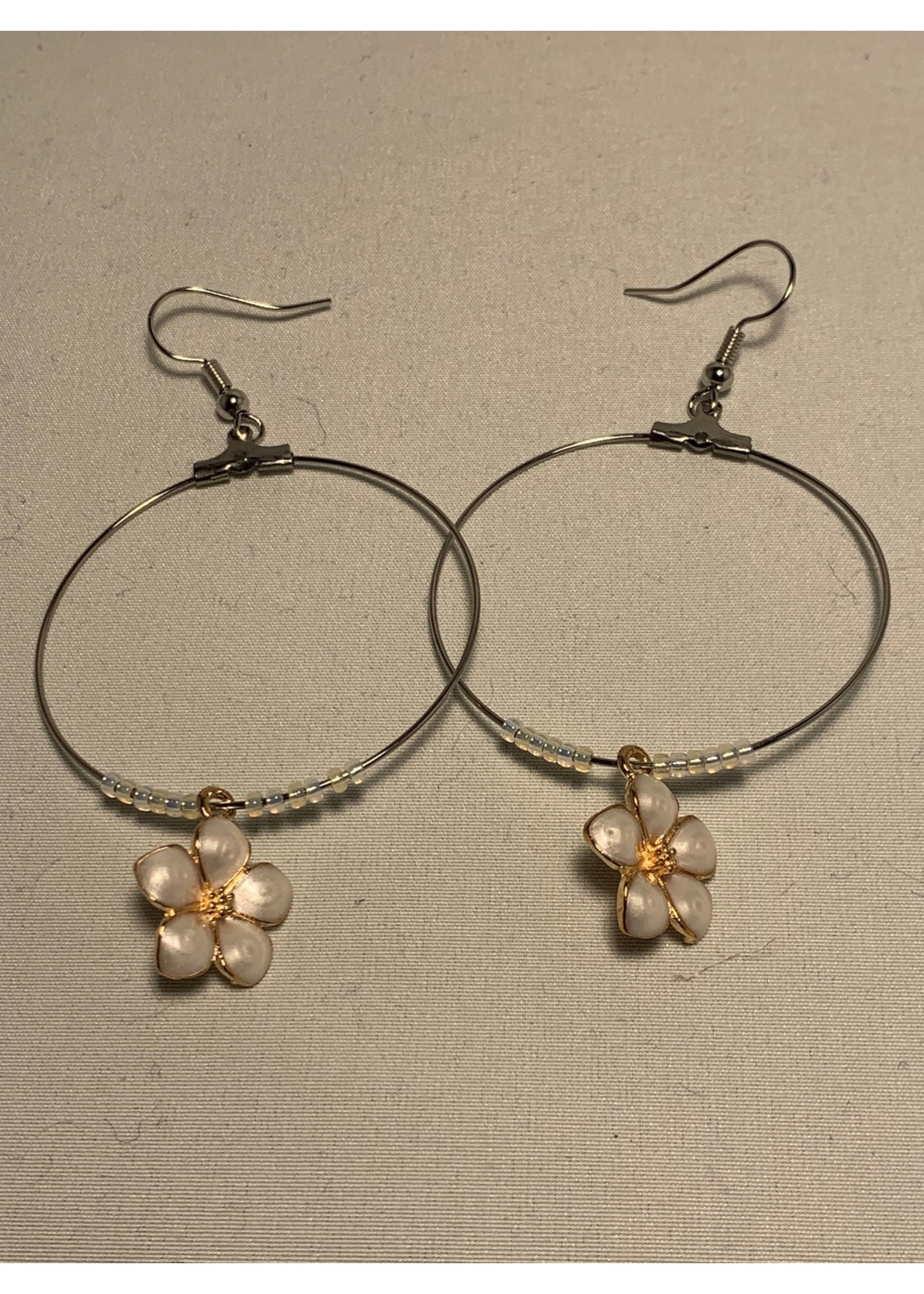 Large Hoop Earrings Pearl White Flowers with Gold Lined Pearl Beads