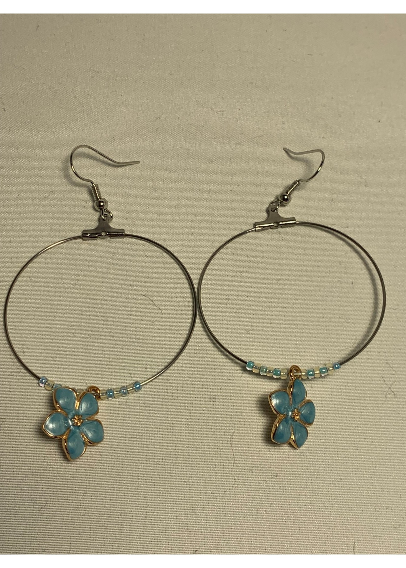 Large Hoop Earrings Pearl Blue Flowers with Blue and Gold Lined Pearl Beads