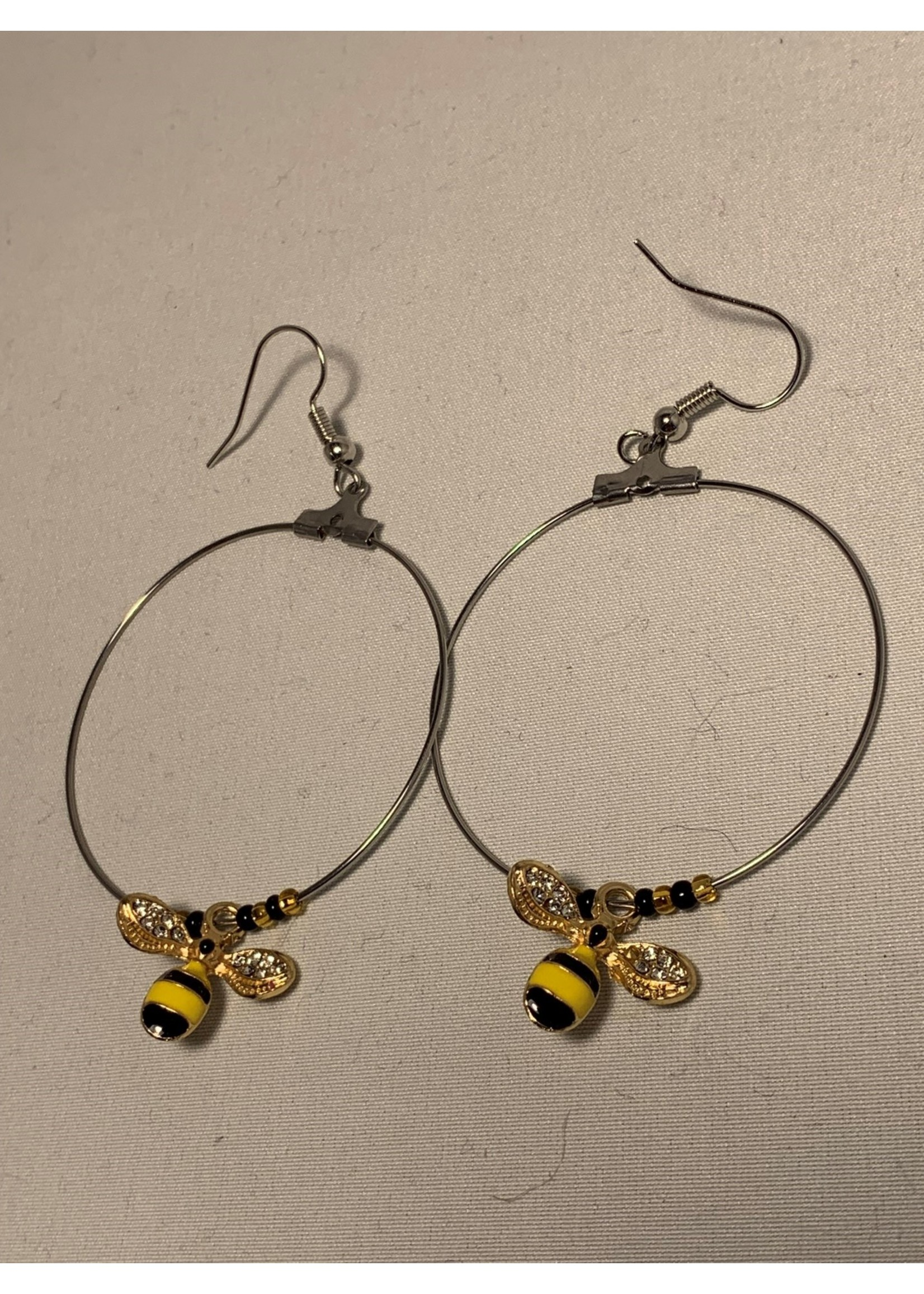 Large Hoop Earrings Bumblebees with Silver Lined Gold and Opaque Black Beads (SOLD)