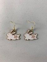 Earrings White Bunny with Pink Flower