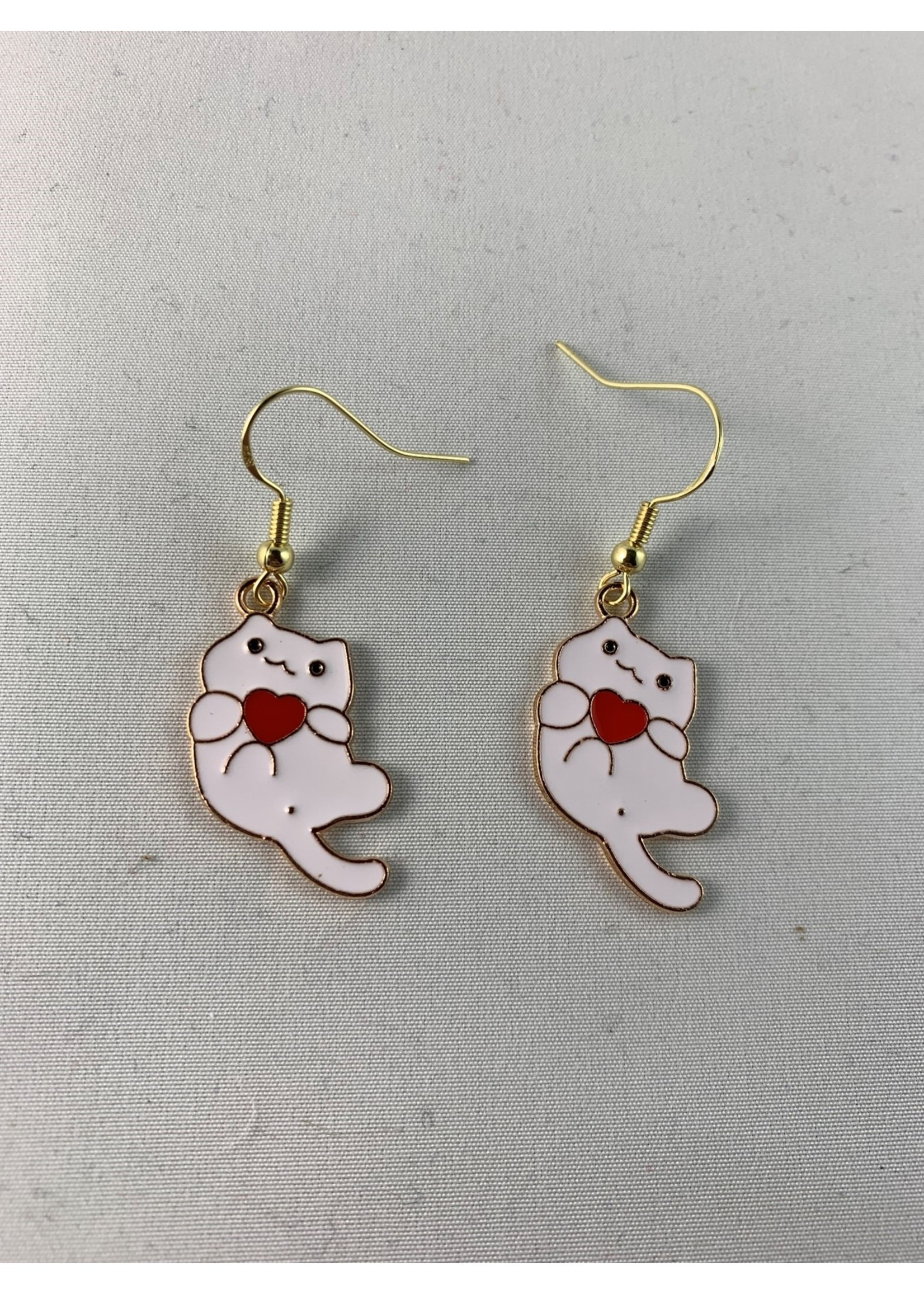 Earrings White Cat with Heart