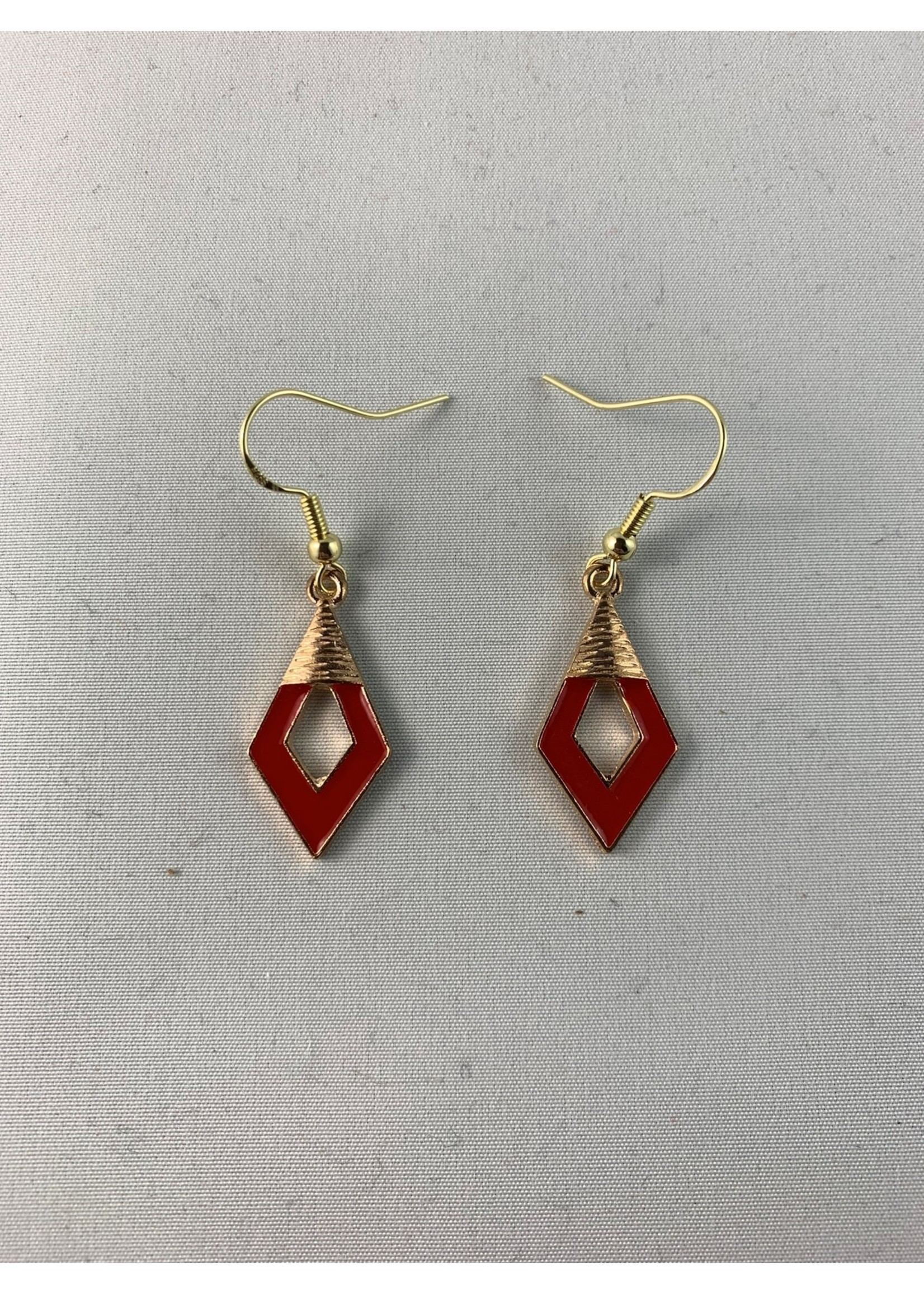 Earrings Red and Gold Diamond