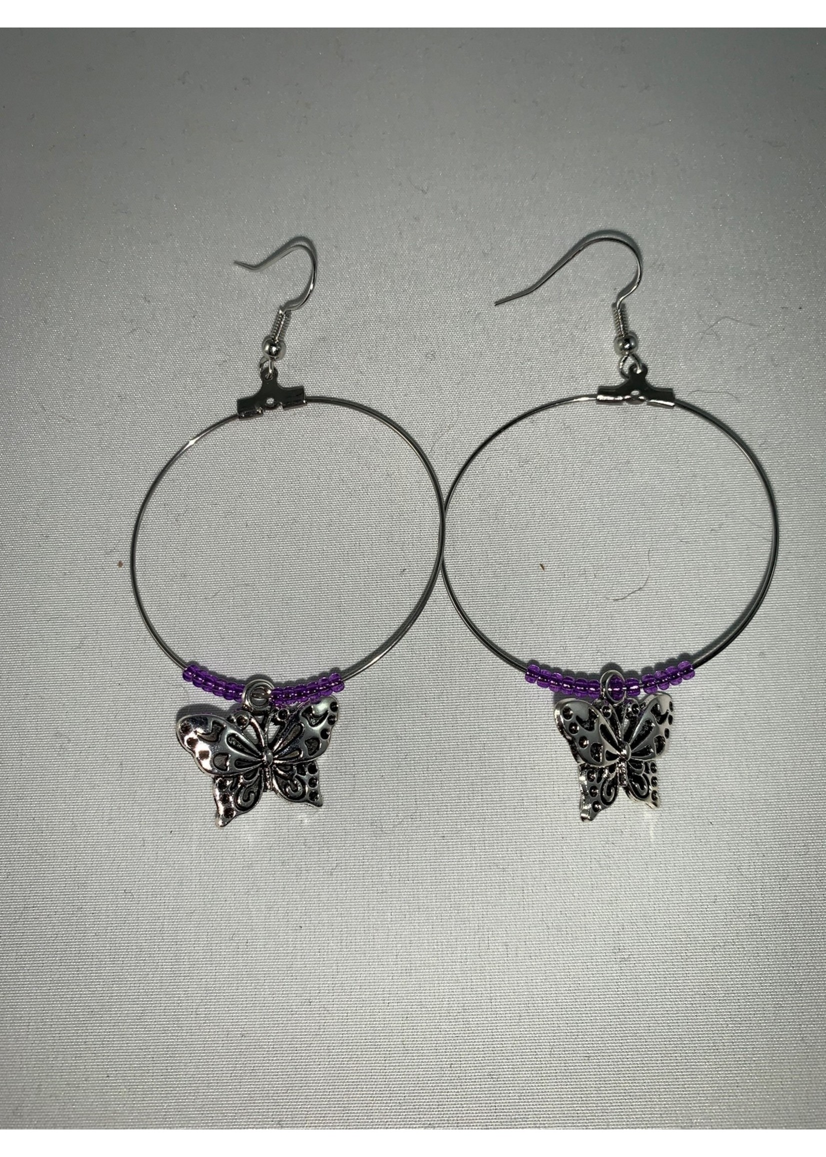Large Hoop Earrings with Silver Butterfly and Silver Lined Purple Beads