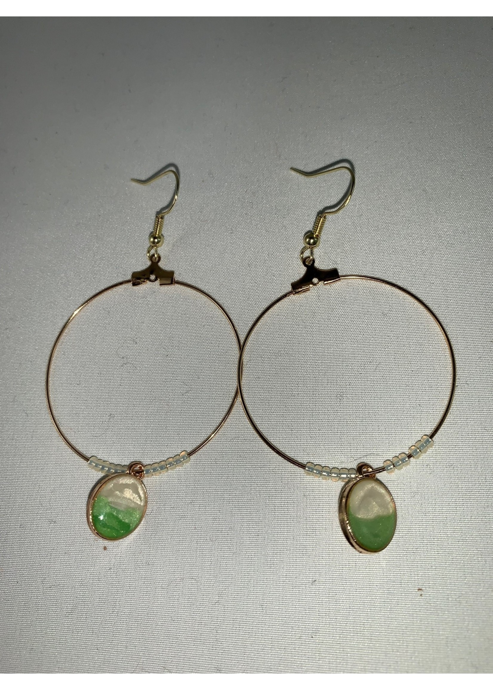 Large Hoop Earrings Gold with Green and Pearl Charm