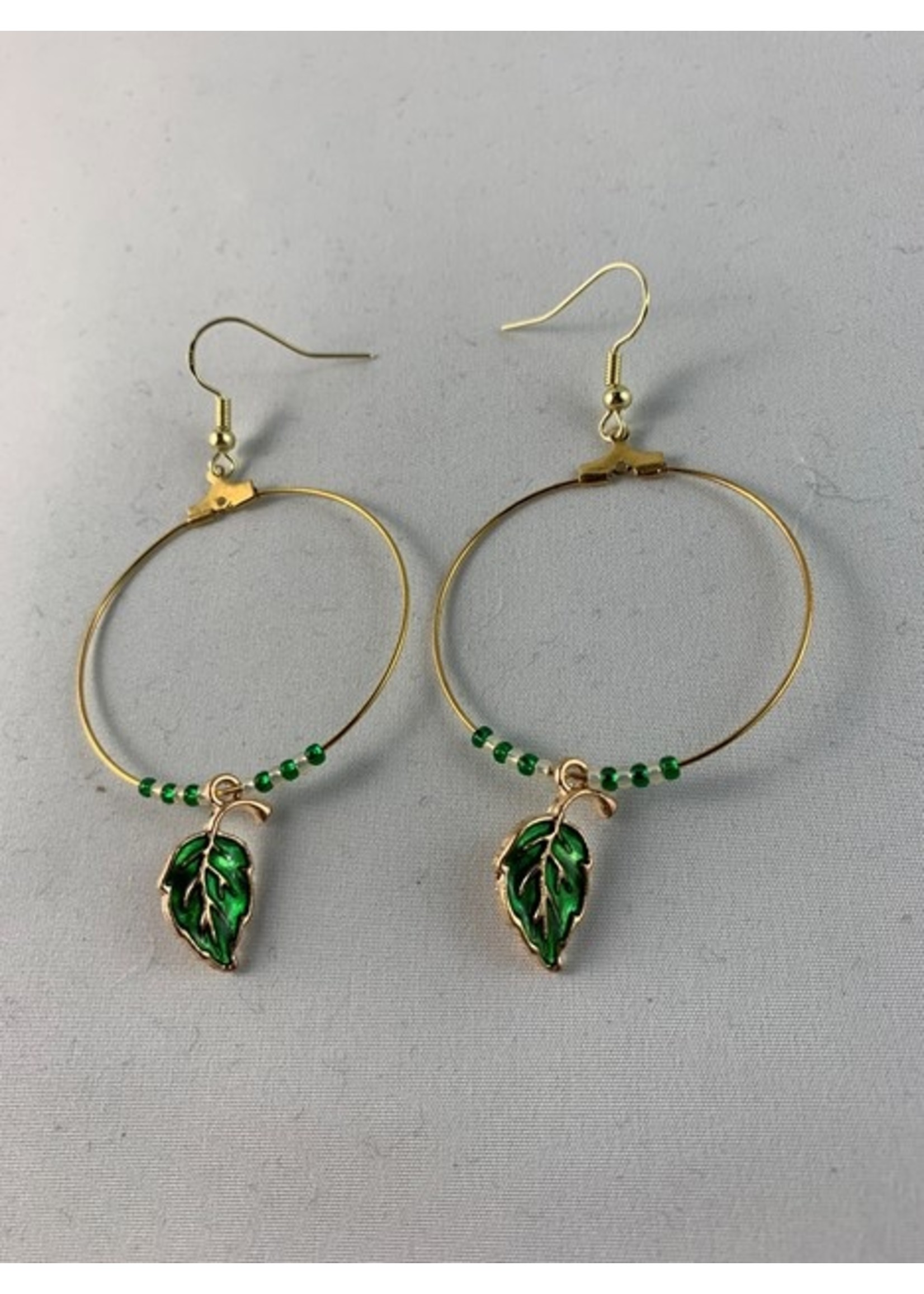 Large Hoop Earrings Gold with Green Leaf