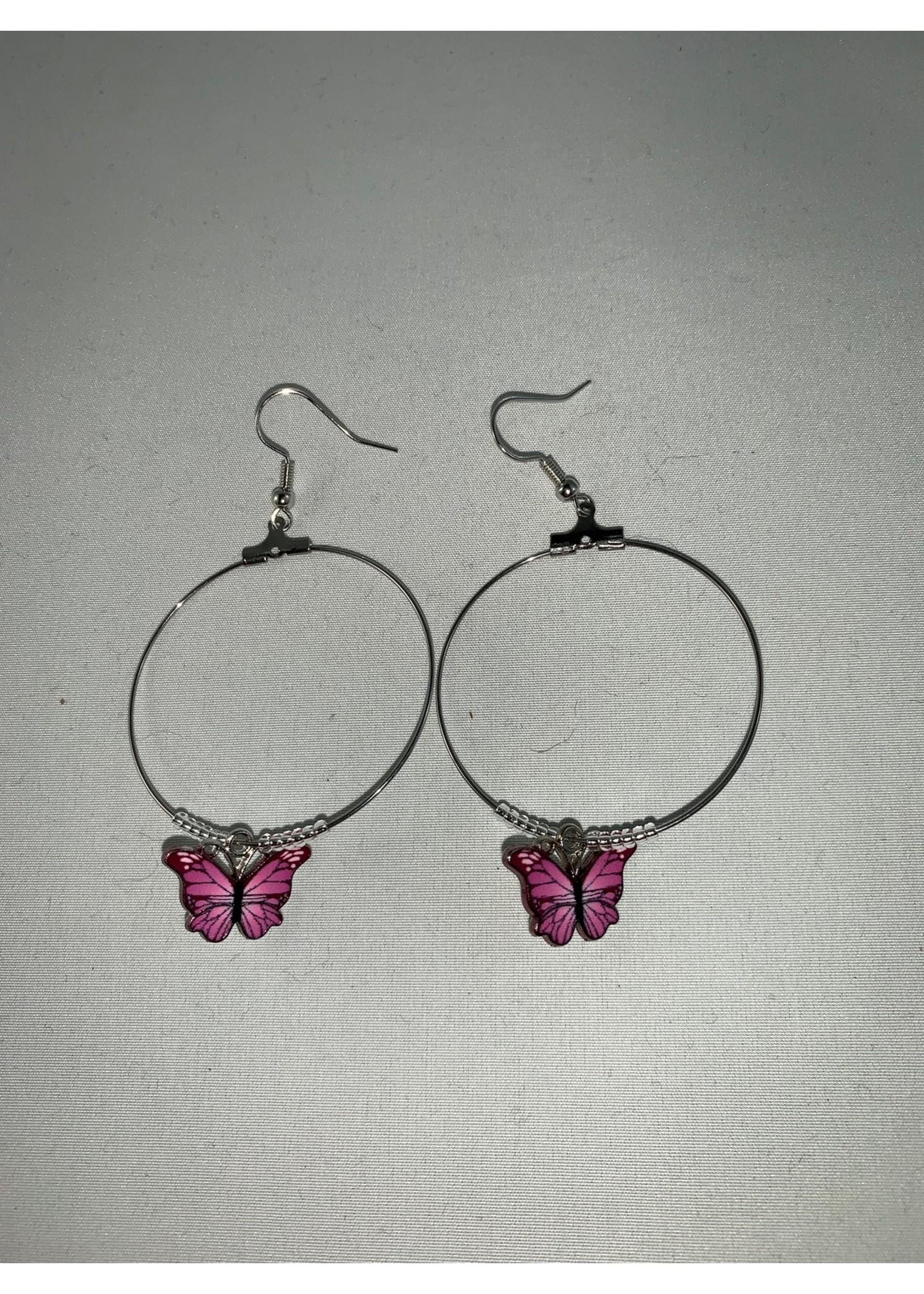 Large Hoop Earrings Pink and Black Butterflies