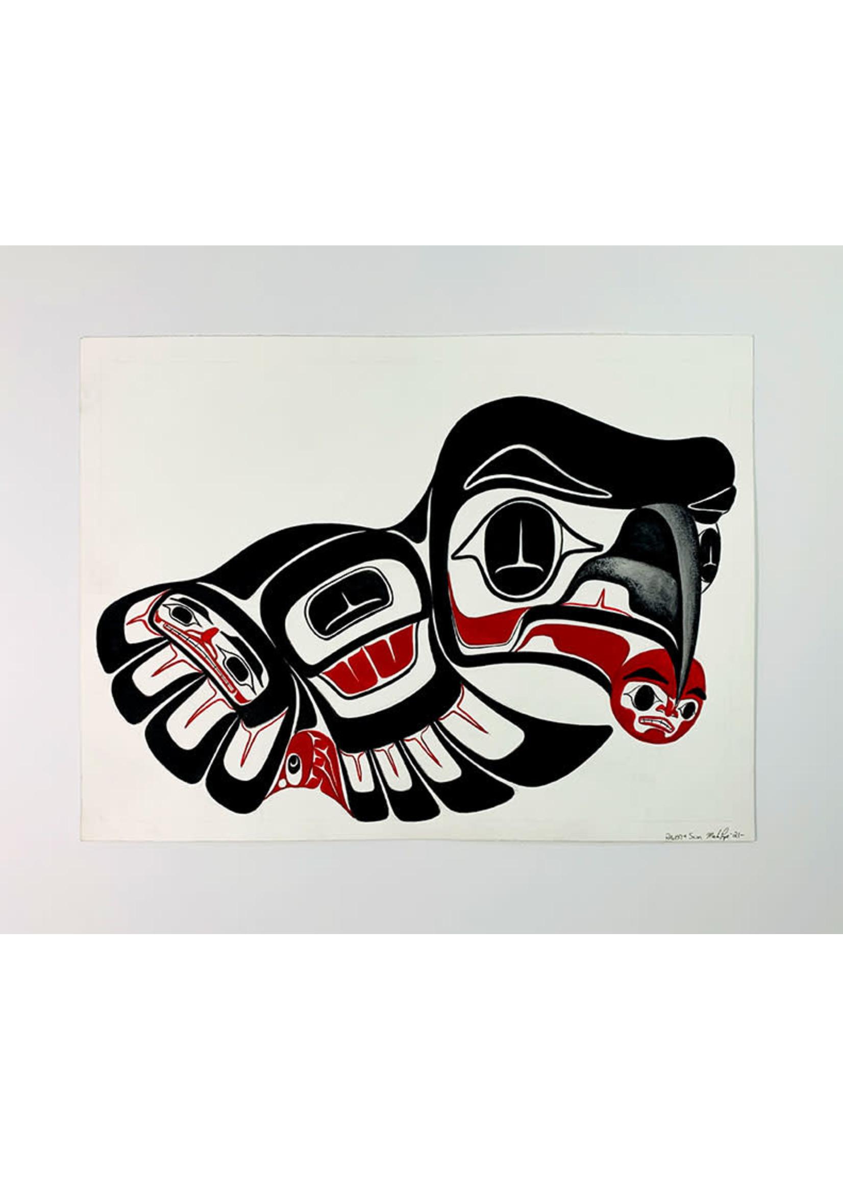 Raven & Sun - Acrylic on Paper