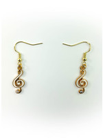 Earrings White Music Note with Jewel