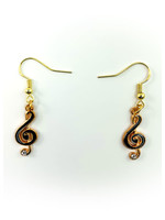 Earrings Black Music Note with Jewel