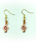 Earrings Pink Music Note with Jewel