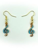 Earrings Blue Music Note with Jewel