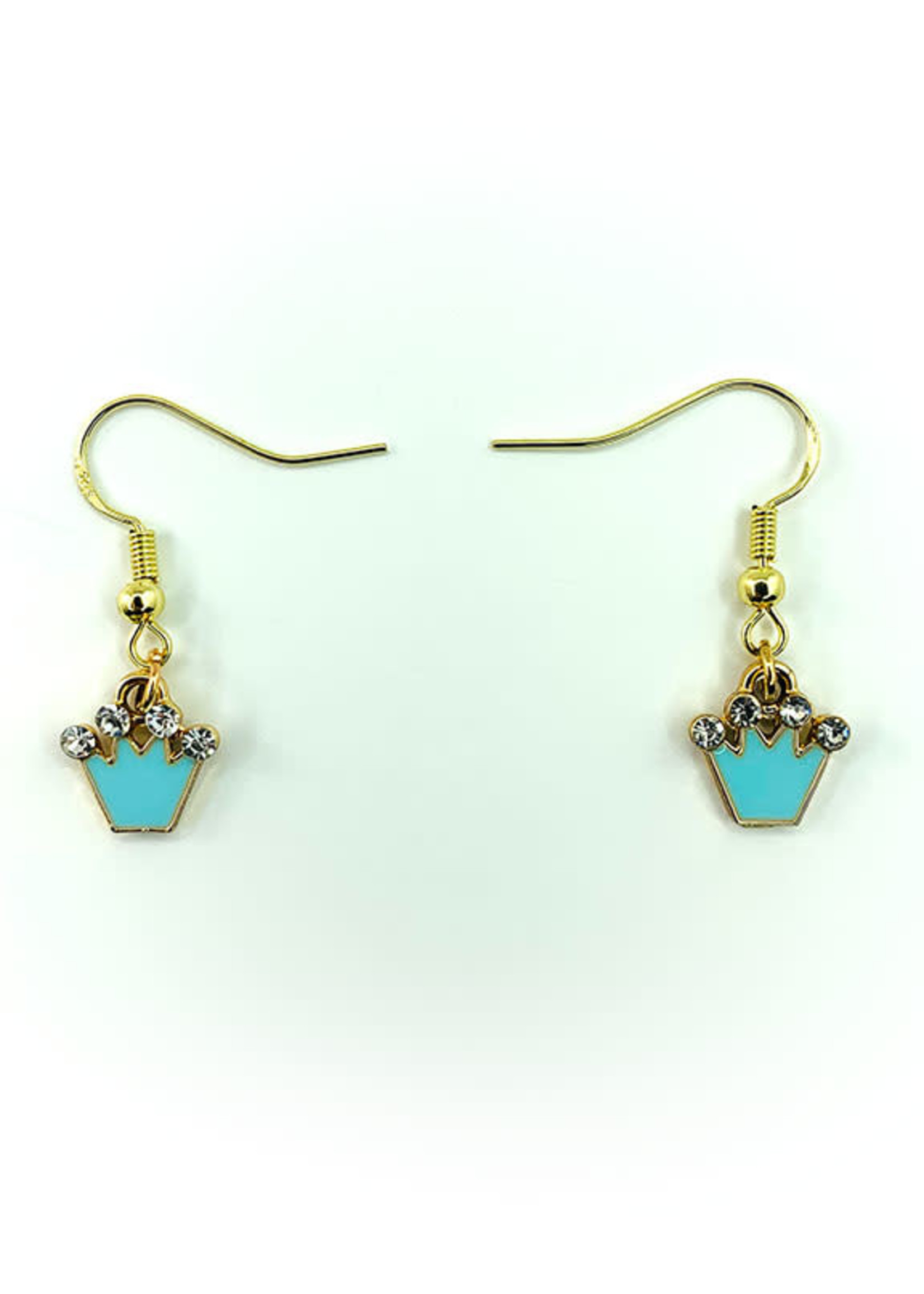 Earrings Blue Crown with Jewels